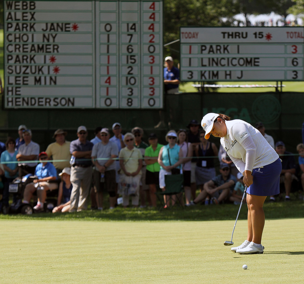 Inbee Park, putts on the 16th green, during second day action of the 70th US Women's Open at Lancaster Country Club Friday July 10, 2015. (Photo/Chris Knight)