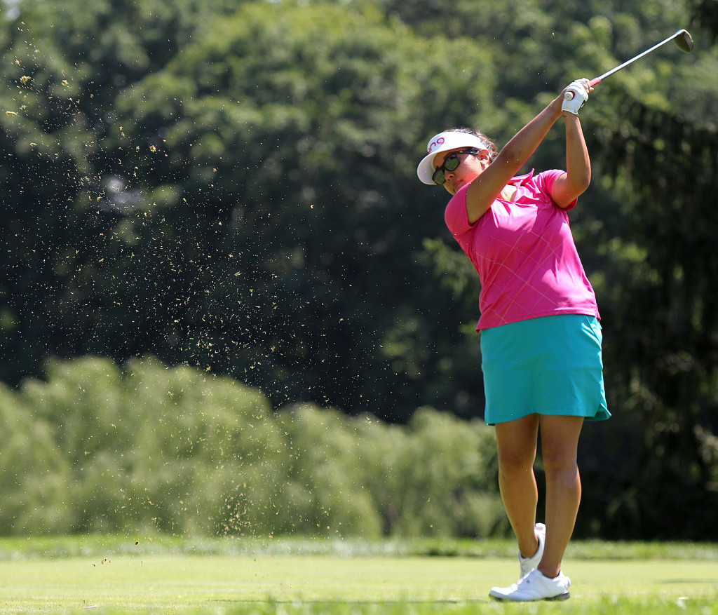 Jane Park, tees off on the 17th hole, during second day action of the 70th US Women's Open at Lancaster Country Club Friday July 10, 2015. (Photo/Chris Knight)