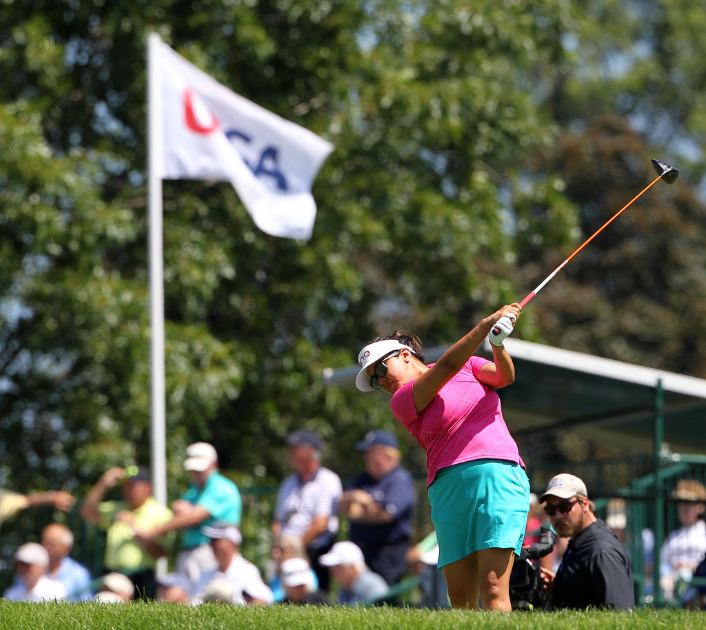 Jane Park, tees off on the 18th hole, during second day action of the 70th US Women's Open at Lancaster Country Club Friday July 10, 2015. (Photo/Chris Knight)