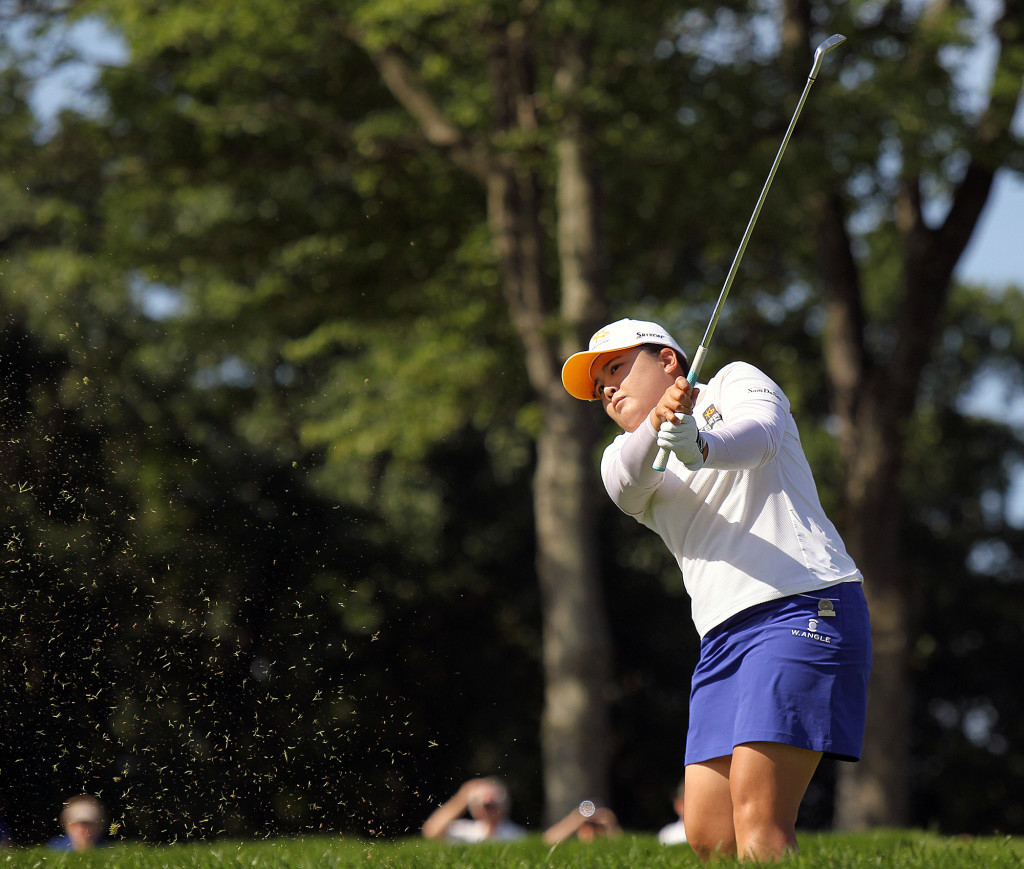 Inbee Park, tees off on the 12th hole, during second day action of the 70th US Women's Open at Lancaster Country Club Friday July 10, 2015. (Photo/Chris Knight)