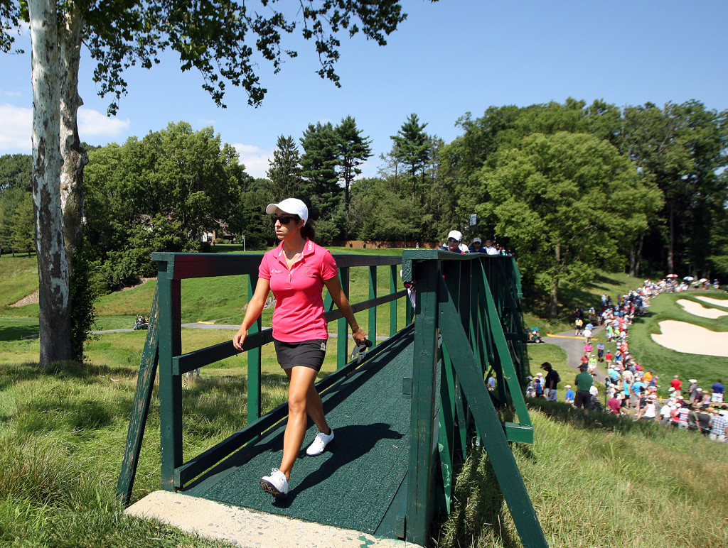 Marina Alex, crosses the bridge after teeing off on the 8th hole, during third day action of the 70th US Women's Open at Lancaster Country Club Saturday July 11, 2015. (Photo/Chris Knight)