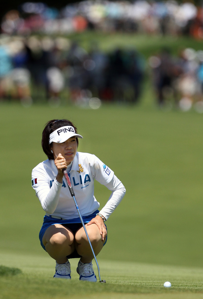 Shiho Oyama, eyes up a putt on the 2nd hole, during third day action of the 70th US Women's Open at Lancaster Country Club Saturday July 11, 2015. (Photo/Chris Knight)