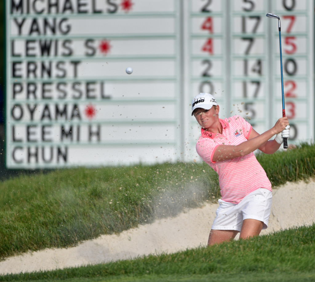 Stacy Lewis hits her shot from a greenside bunker on the eighth hole during the second round of the US Women's Open at Lancaster Country Club on Friday, July 10, 2015. (Photo/Suzette Wenger)