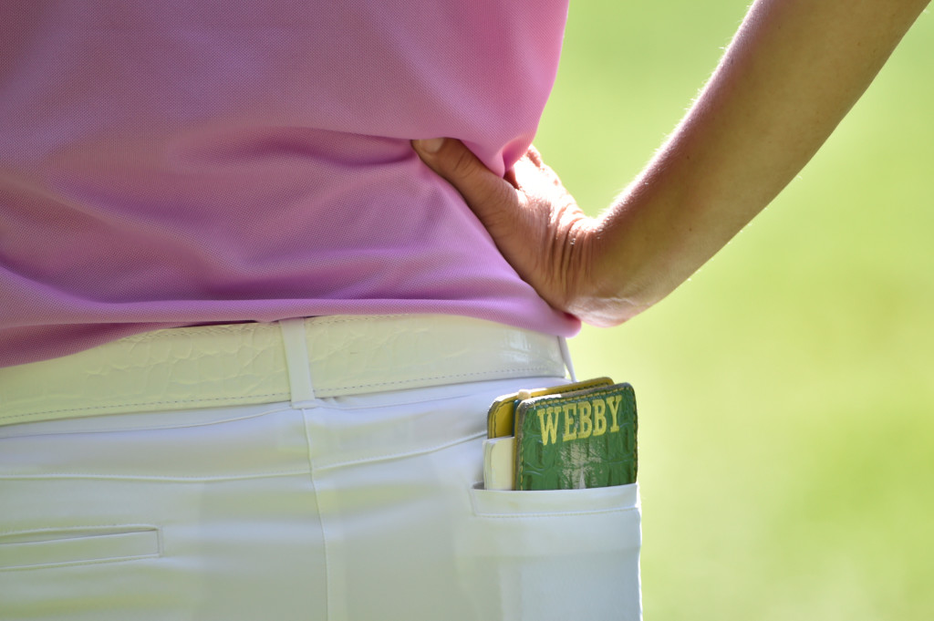 Karrie Webb's yardage book is pictured in her back pocket as she waits to hit her tee shot on the eighth hole during the second round of the US Women's Open at Lancaster Country Club on Friday, July 10, 2015. (Photo/Suzette Wenger)