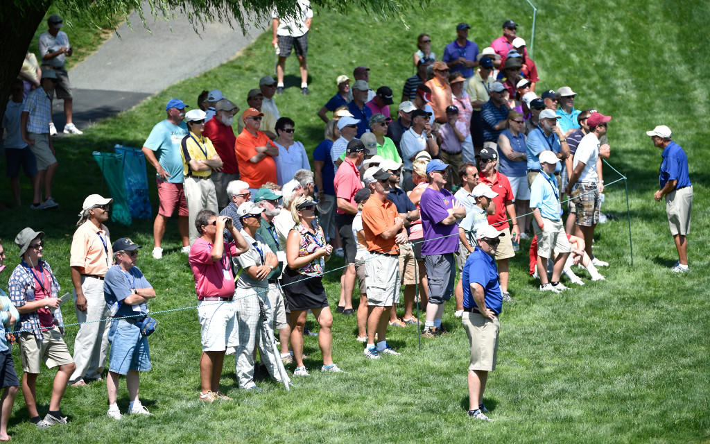 Patrons watch the action on five green during the second round of the US Women's Open at Lancaster Country Club on Friday, July 10, 2015. (Photo/Suzette Wenger)
