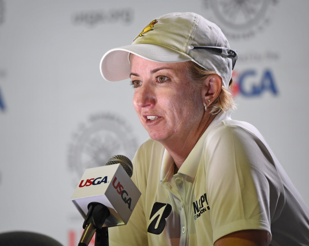 Karrie Webb talks during a press conference following four under par finish in the first round of the 2015 U.S. Open at Lancaster Country Club Thursday.