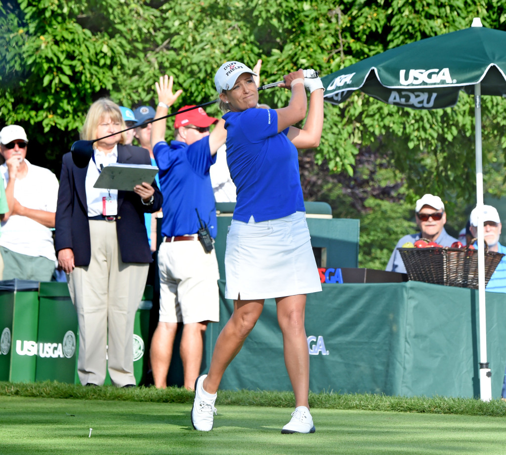 Christie Kerr tees off at hole #1 at Lancaster Country Club in her second round of the 2015 U.S. Women's Open Friday morning.  (Photo/Blaine Shahan)