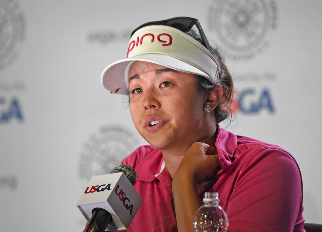 Jane Park takes questions during a press conference after finishing her second round at the 2015 U.S. Women's Open at Lancaster Country Club Friday.  (Photo/Blaine Shahan)