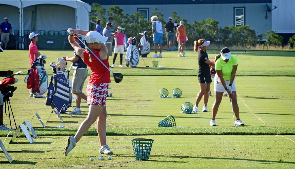Golfers were out on the driving range at Lancaster Country Club Satruday morning before the start of  round 3 of the 2015 U.S. Women's Open. (Photo/Blaine Shahan)