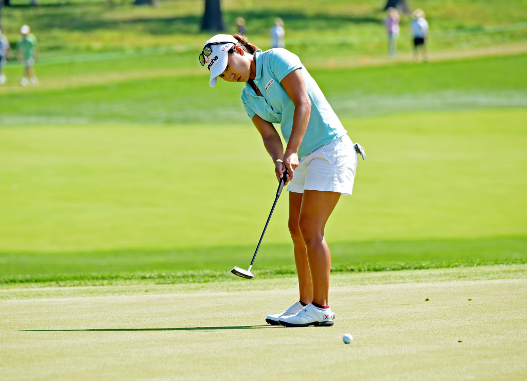 I. K. Kim putts on #2 at Lancaster Country Club in Round 3 of the U.S. Women's Open Saturday. Kim was tied for 47th place at the start of play Saturday. (Photo/Blaine Shahan)