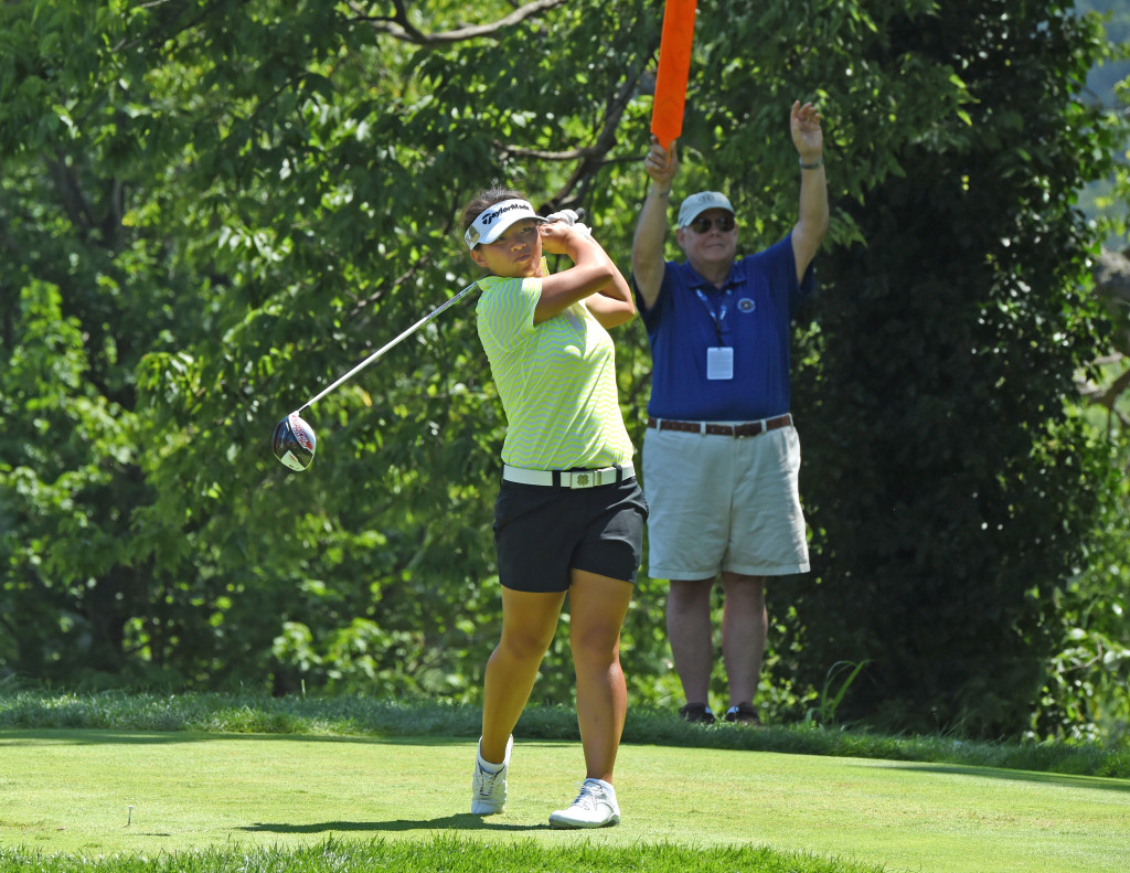 Megan Khang tees off on hole #2 in Round 3 of the U.S. Women's Open at Lancaster Country Club Saturday. (Photo/Blaine)