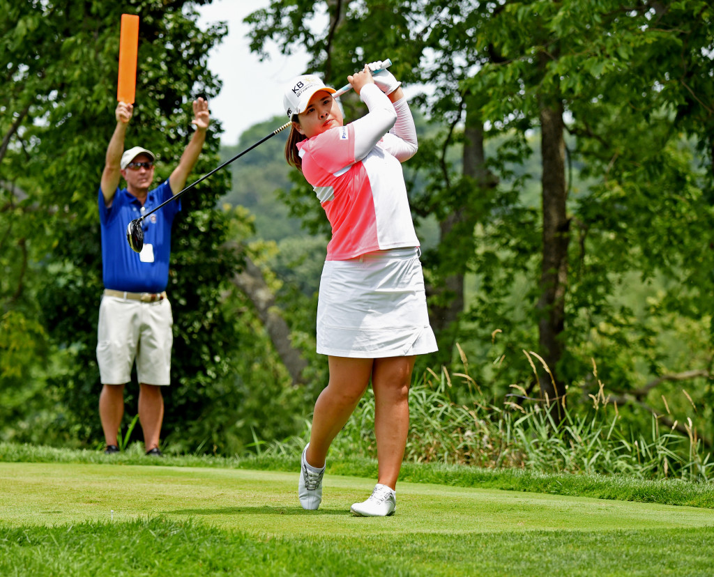 Inbee Park tees off on hole #2 at Lancaster Country Club on Round 4 of the U.S. Women's open Sunday. (Photo/Blaine Shahan)