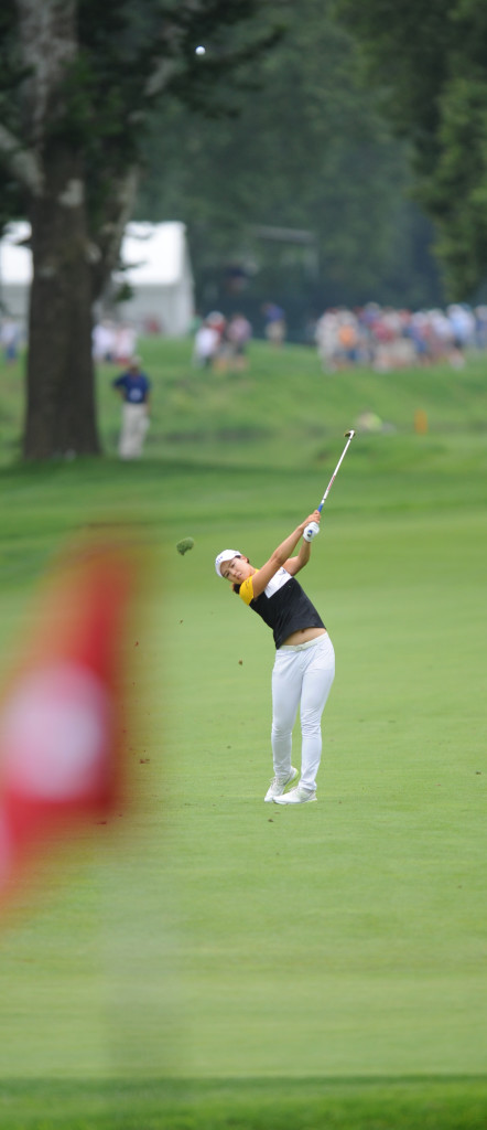In Gee Chun hits an approach shot on seven at Lancaster Country Club in the first round of the 2015 U.S. Women's Open Thursday. (Photo/Patrick Blain)