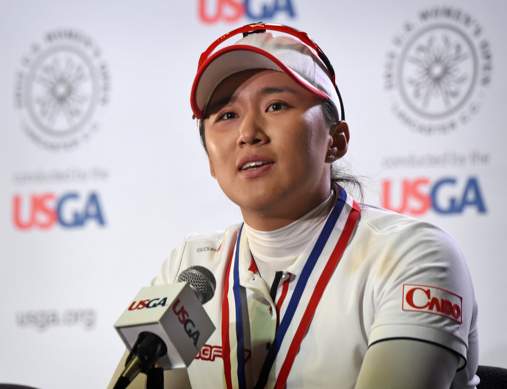 Amy Yang talks about her finish in the 2015 U.S. Women's Open durig a press conference Sunday.  (Photo/Blaine Shahan)