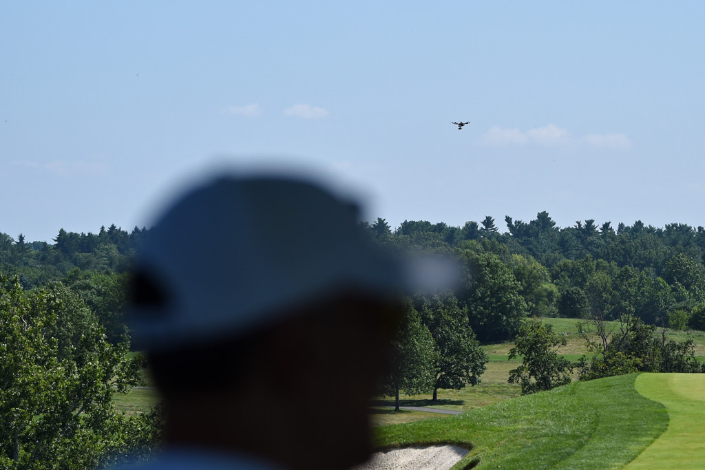 A drone, flies above the 2nd green during Round 2 of the US Women's Open at Lancaster Country Club on Friday, July 10. (Casey Kreider/LNP)